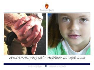 VERGEMÅL, Regionråd Hadeland 26. april 2013
