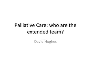 Palliative Care: who are the extended team?
