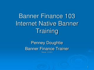 Banner Finance 103 Internet Native Banner Training