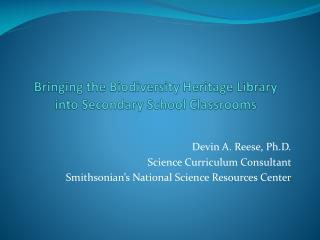 Bringing the Biodiversity Heritage Library  into Secondary School Classrooms