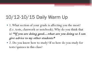 10/12-10/15 Daily Warm Up