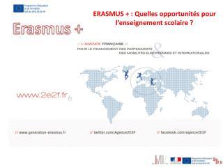 ERASMUS + : Quelles opportunit�s pour  l�enseignement scolaire ?