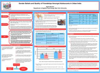 Gender Beliefs and Quality of  Friendships  Amongst Adolescents in Urban India Karla Herrera