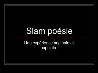 Slam poésie