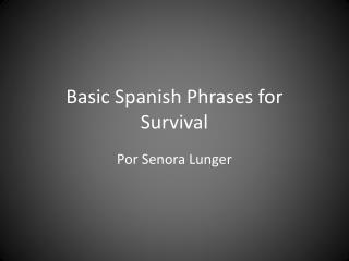 Basic Spanish Phrases for Survival
