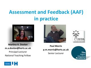 Assessment  and Feedback (AAF)  in practice