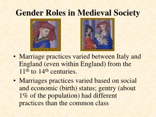 Gender Roles in Medieval Society