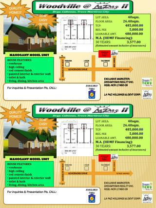 LOT AREA: 40sqm. FLOOR AREA:                 26.40sqm. TCP: 485,000.00 RES. FEE	 5,000.00