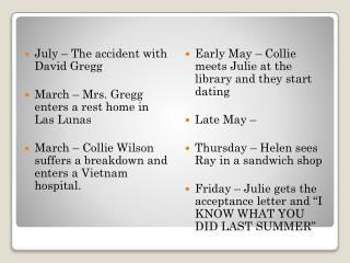 July � The accident with David Gregg March � Mrs. Gregg enters a rest home in Las  Lunas