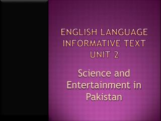 English language  Informative text unit 2
