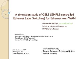 A simulation study of GELS (GMPLS-controlled Ethernet Label Switching) for Ethernet over WAN