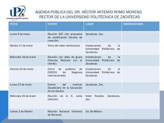 AGENDA PÚBLICA DEL DR. HÉCTOR ARTEMIO ROMO MORENO