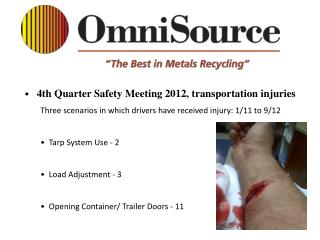 4th Quarter Safety Meeting 2012, transportation injuries