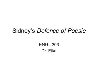 Sidney s Defence of Poesie