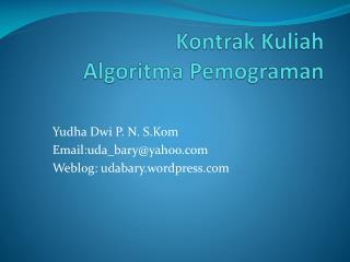 Kontrak Kuliah Algoritma Pemograman