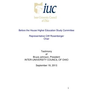 Before the House Higher Education Study Committee Representative Cliff Rosenberger Chair