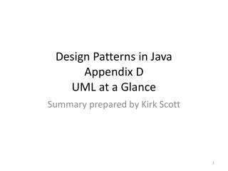 Design Patterns in Java Appendix D UML at a Glance