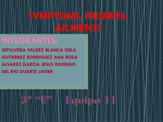SYMPTOMS, INJURIES, AILMENTS