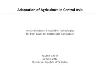 Adaptation of Agriculture in Central Asia