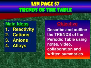 Ian page 57 trends of the table