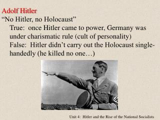 Unit 4:  Hitler and the Rise of the National Socialists