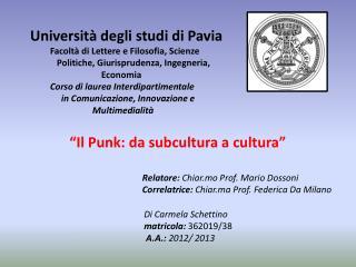 Università degli studi di Pavia Facoltà di Lettere e Filosofia, Scienze