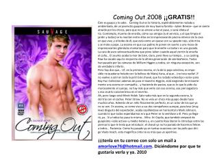 C oming  Out.2008  ¡¡GRATIS!!
