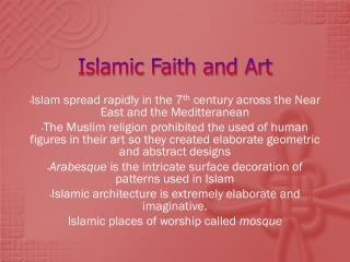 Islamic Faith and Art
