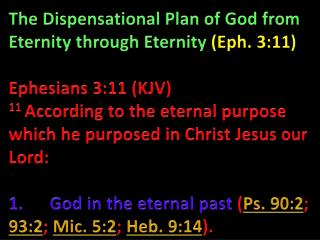 The Dispensational Plan of God from Eternity through Eternity  (Eph. 3:11)