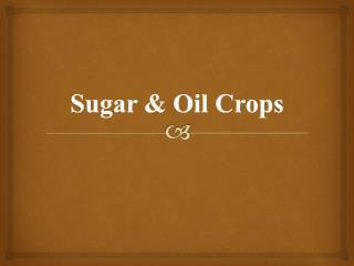 Sugar & Oil Crops
