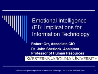 Emotional Intelligence EI: Implications for Information Technology