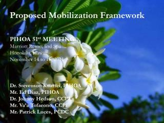 Proposed Mobilization Framework