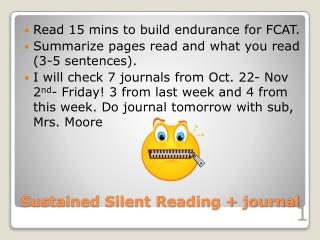 Sustained Silent Reading + journal