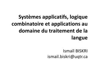 Systèmes Applicatifs