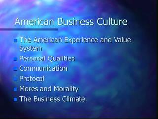 American Business Culture