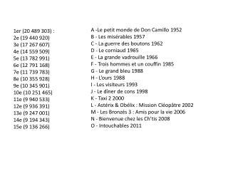 A -Le petit monde de Don  Camillo  1952 B - Les misérables 1957 C - La guerre des boutons 1962