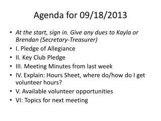 Agenda for 09/18/2013