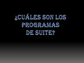 ¿Cuáles son los programas De suite?