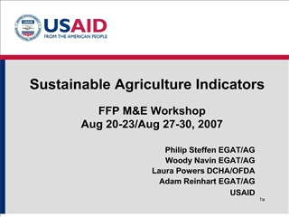 Sustainable Agriculture Indicators