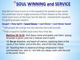 SOUL WINNING and SERVICE