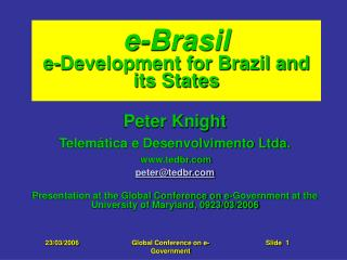 e-Brasil e-Development for Brazil and its States