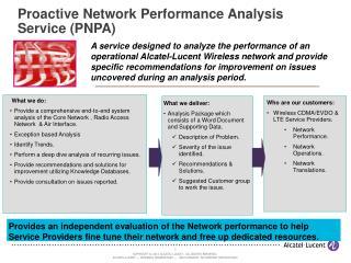Proactive Network Performance Analysis Service (PNPA)