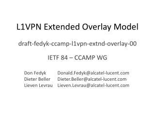 L1VPN Extended Overlay Model