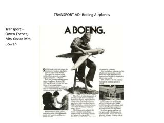 TRANSPORT AD: Boeing Airplanes