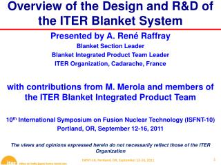 Overview of the Design and R&D of the ITER Blanket System