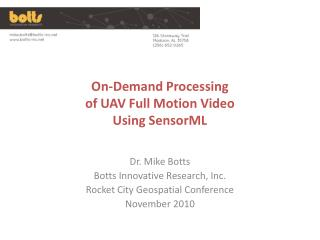 On-Demand Processing  of UAV Full Motion Video Using SensorML