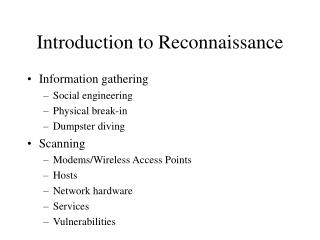 Introduction to Reconnaissance