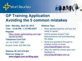 GP Training Application  Avoiding the 5 common mistakes