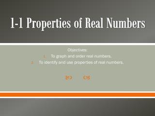 1-1 Properties of Real Numbers