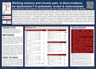 Working memory and chronic pain, is there evidence